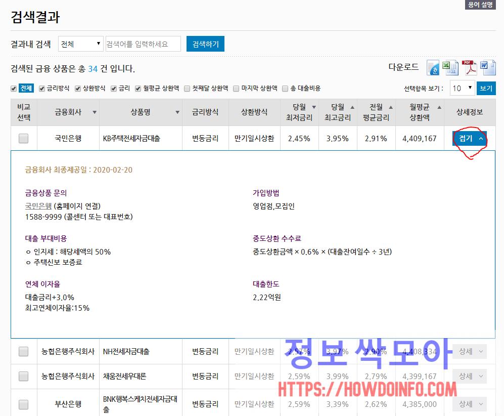 서민금융진흥원 맞춤대출 상세정보 확인