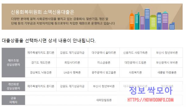 신용회복위원회 소액대출 종류